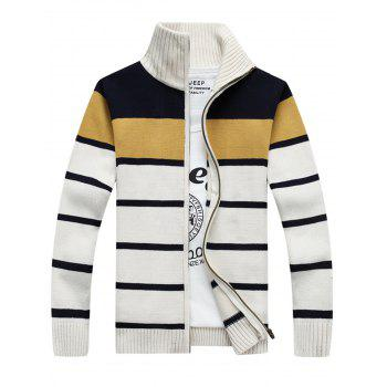 Zipper Front Stripe Cardigan - WHITE WHITE