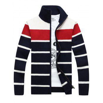 Zipper Front Stripe Cardigan - RED L