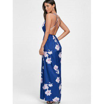 Low Cut Floral Maxi Slit Beach Dress - Bleu 2XL