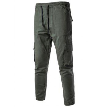 Multi Pockets Drawstring Nine Minutes of Cargo Pants - ARMY GREEN XL