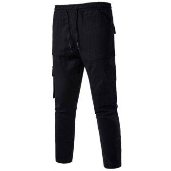 Multi Pockets Drawstring Nine Minutes of Cargo Pants - BLACK 2XL