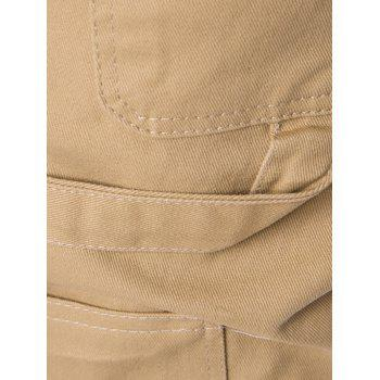 Side Pockets Drawstring Harem Pants - KHAKI M