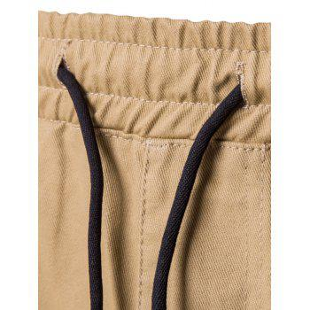 Side Pockets Drawstring Harem Pants - KHAKI 2XL