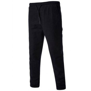 Side Pockets Drawstring Harem Pants - BLACK L