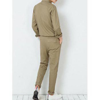 Button Up Drawstring Waist Jumpsuit - L L