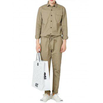 Button Up Drawstring Waist Jumpsuit - KHAKI L