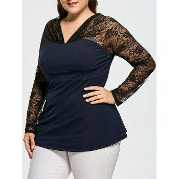 Lace Panel Sheer Plus Size V-neck Top