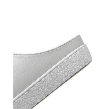 Tie Up PU Leather Flat Shoes - WHITE 37