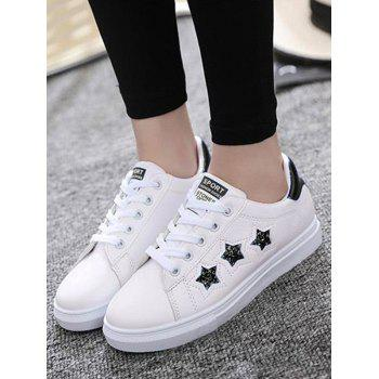 Star Pattern Sequins Flat Shoes - Noir 38