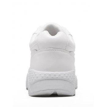 Flat Athletic Faux Leather Sneakers - WHITE 37