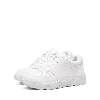 Flat Athletic Faux Leather Sneakers - WHITE 39