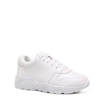 Flat Athletic Faux Leather Sneakers