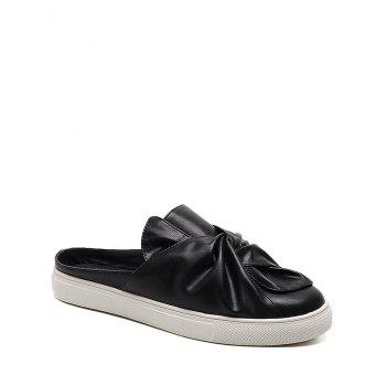 Faux Leather Slip On Bowknot Flats
