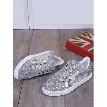 Tie Up Sequins Flat Shoes - Argent 40