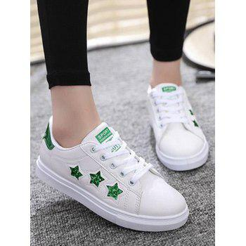 Star Pattern Sequins Flat Shoes - Vert 37