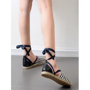 Stitching Tie Up Plaid Pattern Flat Shoes - Carré 37