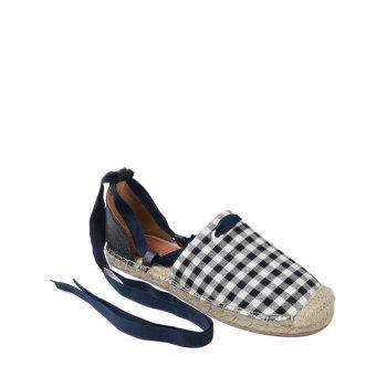 Stitching Tie Up Plaid Pattern Flat Shoes