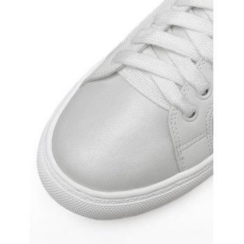 Tie Up PU Leather Flat Shoes - Blanc 38