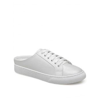 Tie Up PU Leather Flat Shoes - WHITE 38