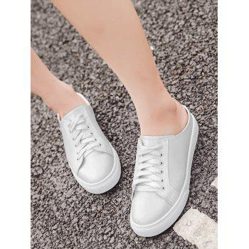 Tie Up PU Leather Flat Shoes - 38 38