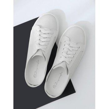 Tie Up PU Leather Flat Shoes - Blanc 39