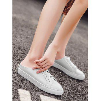 Tie Up PU Leather Flat Shoes - WHITE 39