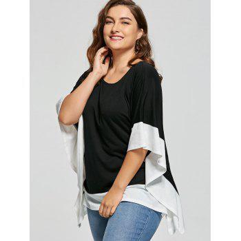 Plus Size Two Tone Batwing Sleeve T-shirt - WHITE/BLACK 5XL