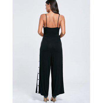 Color Block Buttoned High Slit Slip Jumpsuit - 2XL 2XL