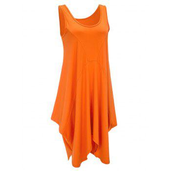 U Neck Long Asymmetrical Tank Top - BRIGHT ORANGE S