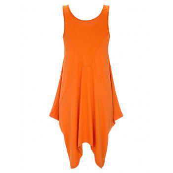 U Neck Long Asymmetrical Tank Top - BRIGHT ORANGE XL