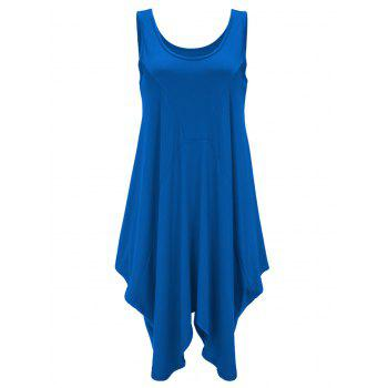 U Neck Long Asymmetrical Tank Top - BLUE S