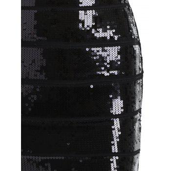Sequin Bronzing Night Out Bandage Dress - Noir L