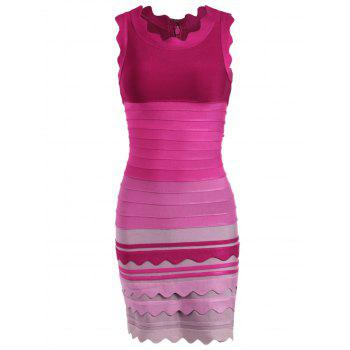 Night Out Ombre Color Bandage Dress - ROSE RED ROSE RED