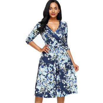 Midi Wrap Floral Print Dress - BLUE BLUE