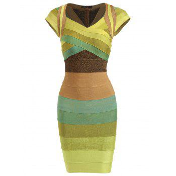 Color Block Cap Sleeve Bandage Dress