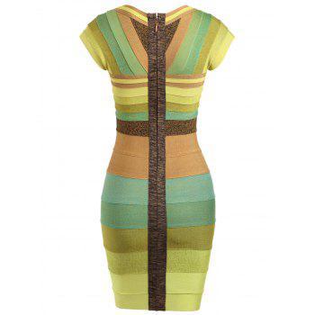 Color Block Cap Sleeve Bandage Dress - YELLOW XL