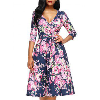 Midi Wrap Floral Print Dress - ROSE RED S