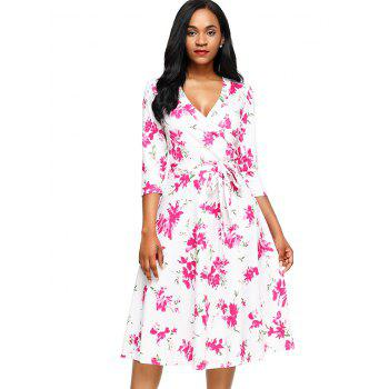 Midi Wrap Floral Print Dress - WHITE WHITE