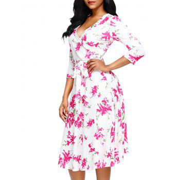 Midi Wrap Floral Print Dress - WHITE L