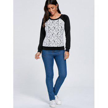 Raglan Sleeve Floral Lace Trim Sweatshirt - XL XL