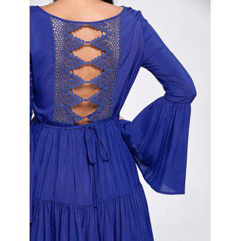 Flare Sleeve Crochet Panel Flounce Dress - Bleu Foncé L