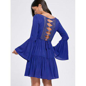 Flare Sleeve Crochet Panel Flounce Dress - L L