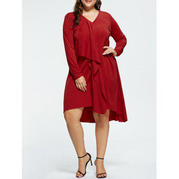 V-neck Plus Size High Low Party Dress