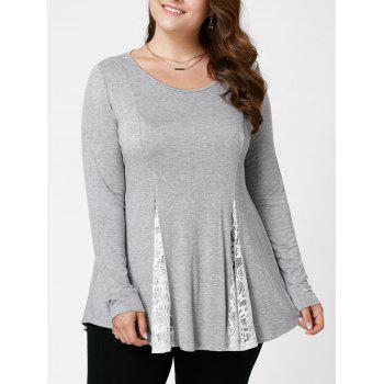 Plus Size Lace Insert Flare Top