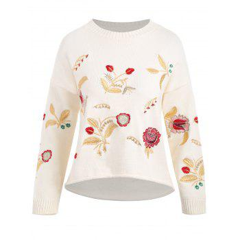 Plus Size Floral Embroidered Drop Shoulder Sweater