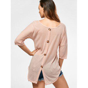 Sheer Back Button Tunic Knitwear - APRICOT XL