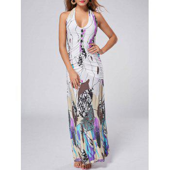 Bohemian Halter Printed Backless Long Dress For Women