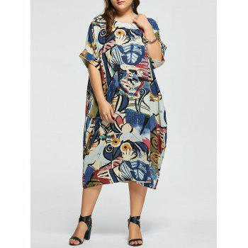 Plus Size Funny Printed Linen Dress with Pockets