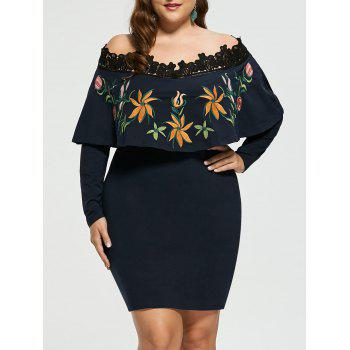 Embroidery Plus Size Off Shoulder Bodycon Dress