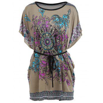 Batwing Sleeve Tribal Print Tunic T-shirt